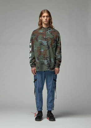 Off-White Off White Diagonal Incompiuto Camouflage Zip Mock Neck Tee