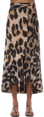 Ganni Wrapped Leopard Print Midi Skirt