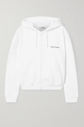 Balenciaga Printed Cotton-jersey Hoodie - White