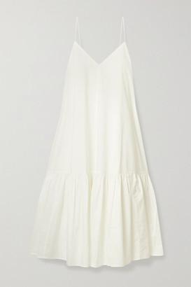 Anine Bing Averie Tiered Cotton-poplin Midi Dress - White