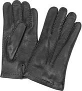 Forzieri Men's Cashmere Lined Black Italian Deer Leather Gloves