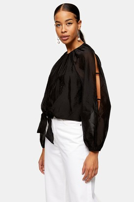 Topshop Black Tie Front Sleeve Blouse