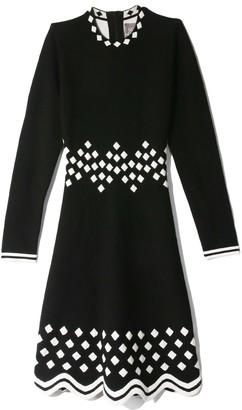 Lela Rose Long Sleeve Dress in Black/White