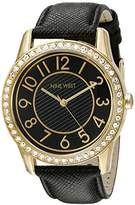 Nine West Women's NW/1730BKBK Easy To Read Swarovski Crystal Accented Gold-Tone and Black Leather Strap Watch
