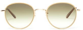 Garrett Leight Paloma Round Stainless-steel Sunglasses - Womens - Green Gold