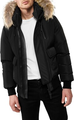Mackage Nathan Water Repellent Hooded Down Bomber Jacket with Genuine Coyote Fur Trim