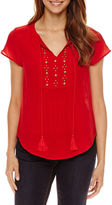 Liz Claiborne Embellished Short Sleeve Flutter Sleeve Leaf Peasant Top Petites