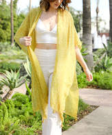 Leto Collection Women's Kimono Cardigans MUSTARD - Mustard Speckled Tassel-Accent Kimono - Women