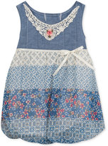 Rare Editions Chambray & Lace Mixed-Print Bubble Romper, Baby Girls (0-24 Months)