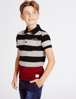 Marks and Spencer Cotton Rich Striped Polo Shirt (3-14 Years)
