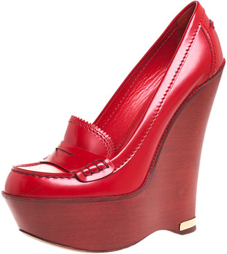 Louis Vuitton Red Leather Wedge Platform Loafer Pumps Size 40