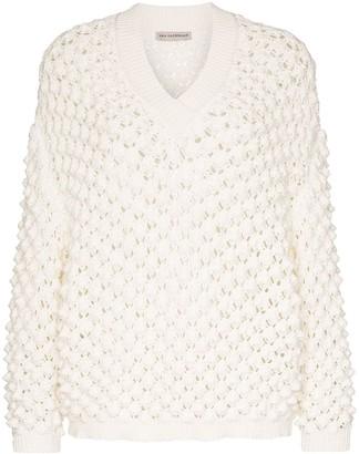 Vika Gazinskaya V-neck open weave jumper