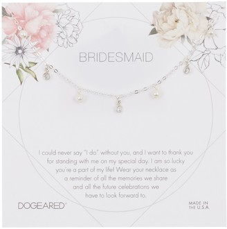 Dogeared Sterling Silver Bridesmaid 3mm Pearl Charm Necklace