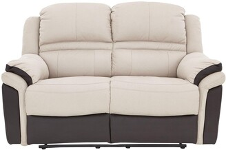 Petra Fabric and Faux Leather 2 SeaterManual Recliner Sofa