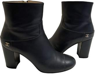 Chanel \N Grey Leather Ankle boots