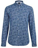 Burton Mens Blue Long Sleeve Floral Chambray Shirt