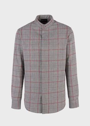 Emporio Armani Modern Fit Shirt With Guru Collar In A British Check Fabric