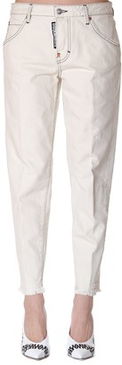 DSQUARED2 White Cotton Frayed Jeans