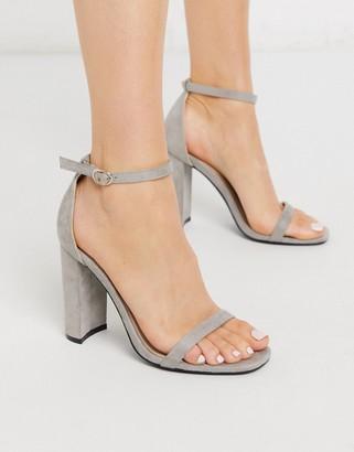 Glamorous block heeled sandal in light grey