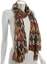chocolate silk-cashmere tribal print wrap
