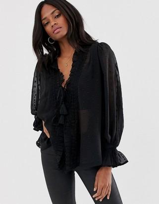 Asos Design DESIGN long sleeve sheer open blouse in dobby-Black