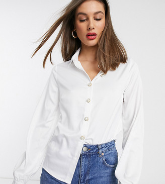Fashion Union Tall faux pearl button front blouse with balloon sleeve in ivory