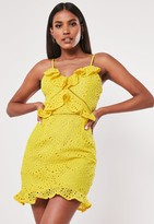 Missguided Yellow Broderie Anglaise Mini Dress