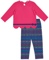 Florence Eiseman Scallop-Hem Bow Shirt w/ Striped Leggings, Size 2-6X