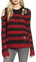 Pam & Gela Women's Stripe Open Knit Sweater