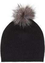 Neiman Marcus Fur-Pompom Knit Hat, Black