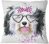 """Design Art Usa Cute Dog With Heart Glasses Contemporary Animal Throw Pillow, 16""""x16"""""""