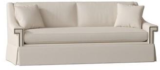 "Gabby Jacyln 84"" Square Arm Sofa Body Fabric: Zulu Vanilla, Nailhead Detail: Antique Brass, Cushion Fill: Ultra Plush"