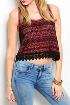 Adore Clothes & More Coral Lace Top