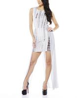 AX Paris Gray Tie-Dye Sheer Tail Bodycon Dress