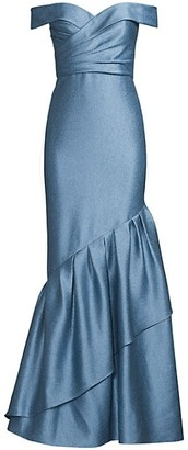 Aidan Mattox Off-The-Shoulder Ruffle Satin Gown