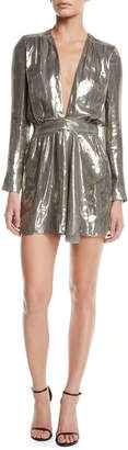 Ramy Brook Shaina Plunging Metallic Short Dress