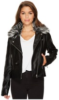 Members Only Grey Fur Rocker Jacket Women's Coat