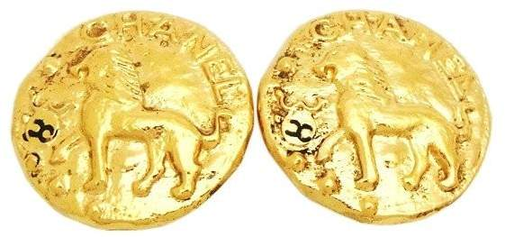 Chanel CC Logo Gold Tone Metal Lion Round Earrings