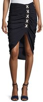 Veronica Beard Marlow Striped Lace-Up Ruched Skirt, Navy