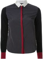 GUILD PRIME pinstriped multipattern contrast cuff button down shirt