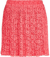 River Island Womens Pink pleated lace skater skirt