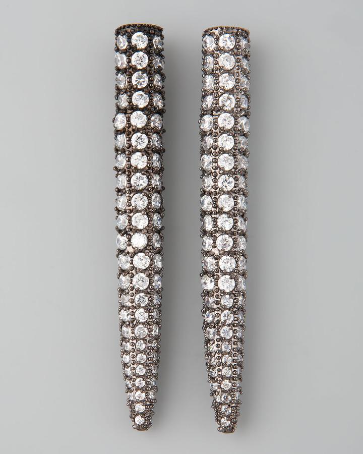 Eddie Borgo Pave Crystal Spike Earrings, Gunmetal
