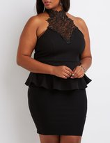Charlotte Russe Plus Size Crochet Yoke Peplum Top