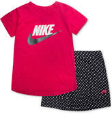 Nike 2-Pc. Logo-Print T-Shirt & Scooter Skort Set, Little Girls