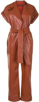 Oscar de la Renta Leather Belted Short-Sleeve Jumpsuit