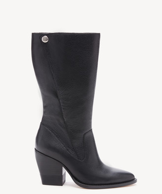 Sole Society Women's Malikah Midcalf Heeled Boots Black Size 5 Leather From