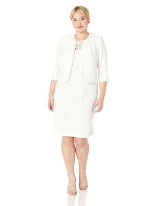 Maya Brooke Women's Plus Size Solid Knit Jacket Dress with Embroidered Trim