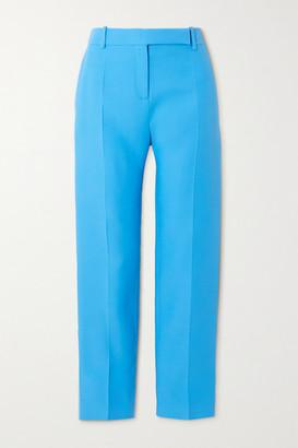 Valentino Wool And Silk-blend Slim-leg Pants - Blue