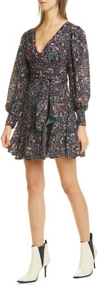 Nicholas Magnolia Paisley Long Balloon Sleeve Silk Minidress