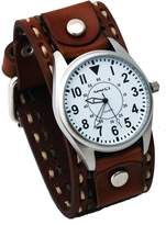 Nemesis #LBDT095W Men's Wide Brown Leather Cuff Band with Stitching Easy Reader Watch